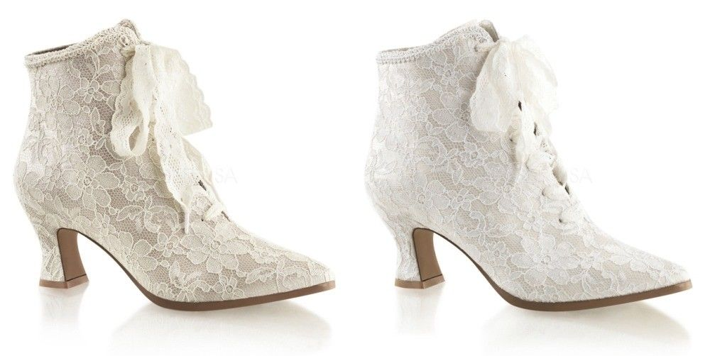 FABULICIOUS Victorian-30 Champagne Ivory Satin Lace Bridal Boots Kitten Heels