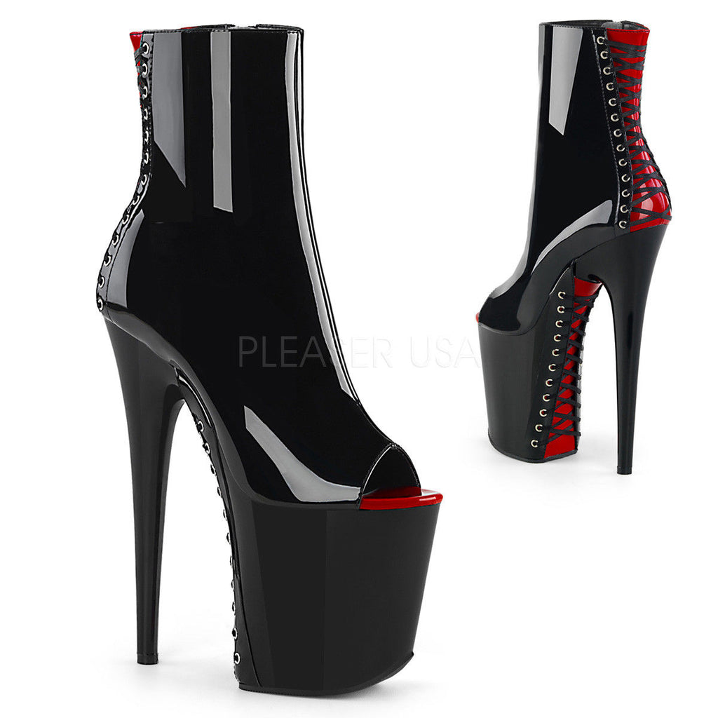 "PLEASER Flamingo-1025 Black Red Corset Ribbon Dancer Club 4"" Platforms 8"" Heels - A Shoe Addiction"