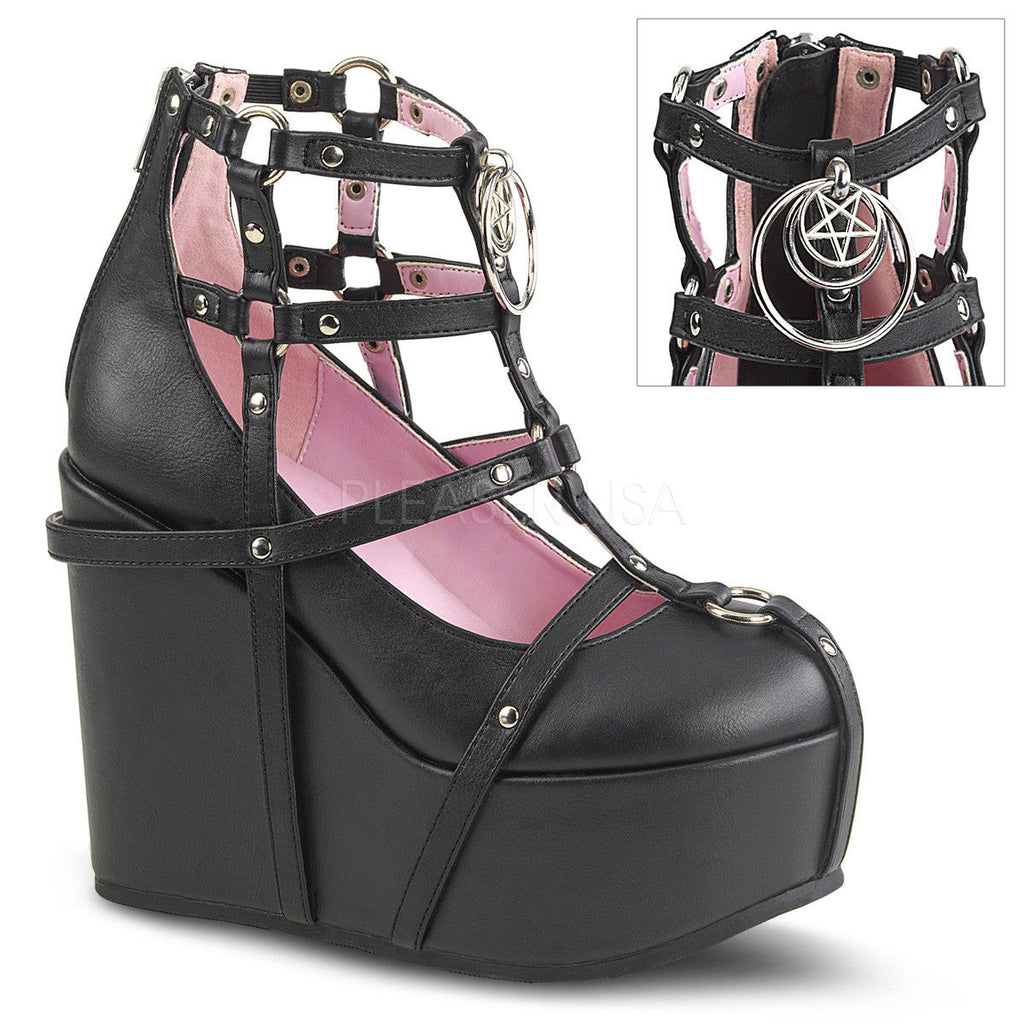 DEMONIA Poison-25-1 Goth Pentagram Charm Cage Bootie Strappy Bondage Wedge Heels - A Shoe Addiction