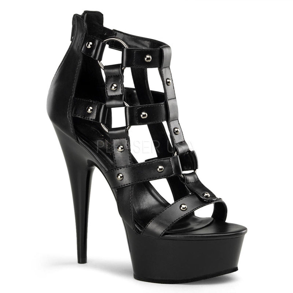 "PLEASER Delight-682 Metal Studs Cage Dress Goth Club Platform Sandals 6"" Heels - A Shoe Addiction"