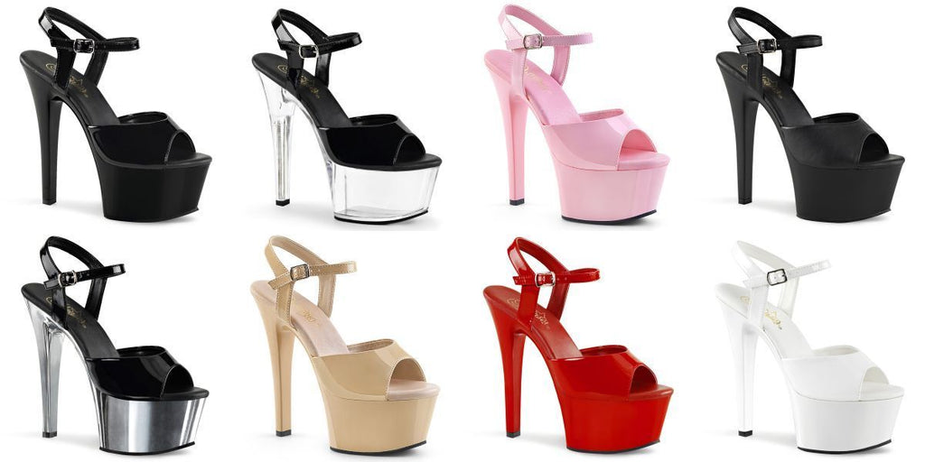 "PLEASER Aspire-609 Ankle Strap Pole Dancer Club Party 6"" Sandals Platforms Heels - A Shoe Addiction"