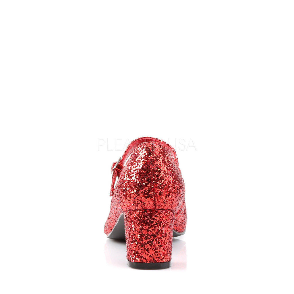 "FUNTASMA Schoolgirl-50G Red Glitter Mary Janes Dorothy Costume Halloween 2"" Heel - A Shoe Addiction"