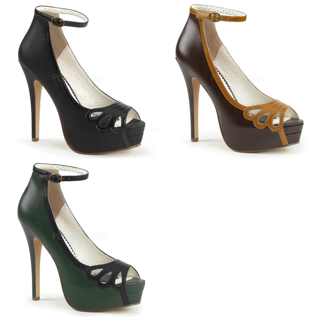 Discontinued PINUP COUTURE Bella-31 Black Brown Green Work Dress Pumps Heels - A Shoe Addiction