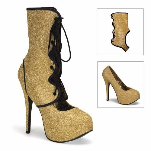 Discontinued BORDELLO Teeze-31G Glitter Burlesque Pinup Detachable Shaft Heels - A Shoe Addiction