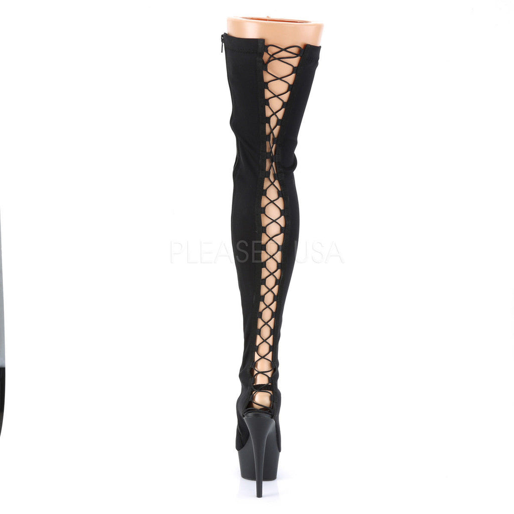 PLEASER Delight-3003 Black Lycra Exotic Stripper Dancer Back Lace Up Thigh Boots