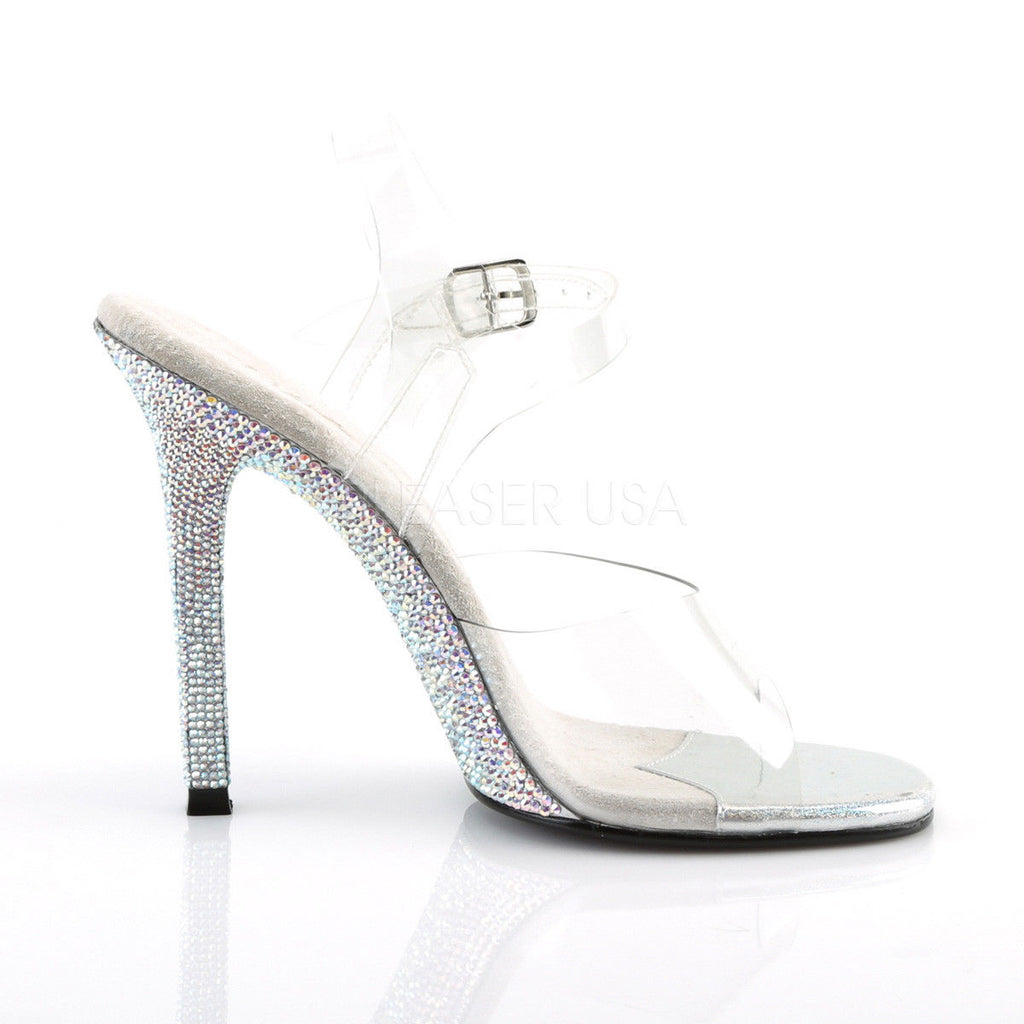 "FABULICIOUS Gala-08DM Clear Rhinestones Dress Wedding Ankle Straps 4.5"" Heels"