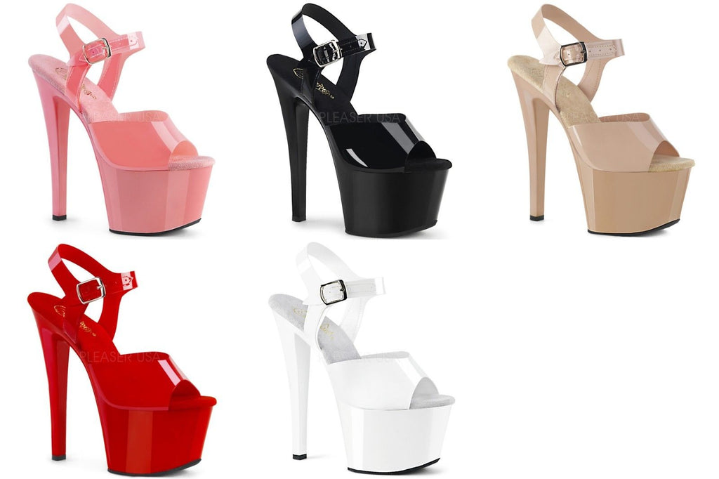 "PLEASER Sky-308N Pink Red White Cream Black Jelly Like TPU Pole Dancer 7"" Heels - A Shoe Addiction"