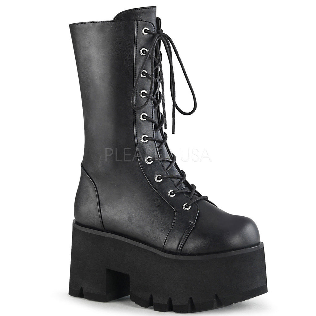 DEMONIA Ashes-105 Women's Lace Up Zip Chunky Thick Platform Heel Mid Calf Boots - A Shoe Addiction