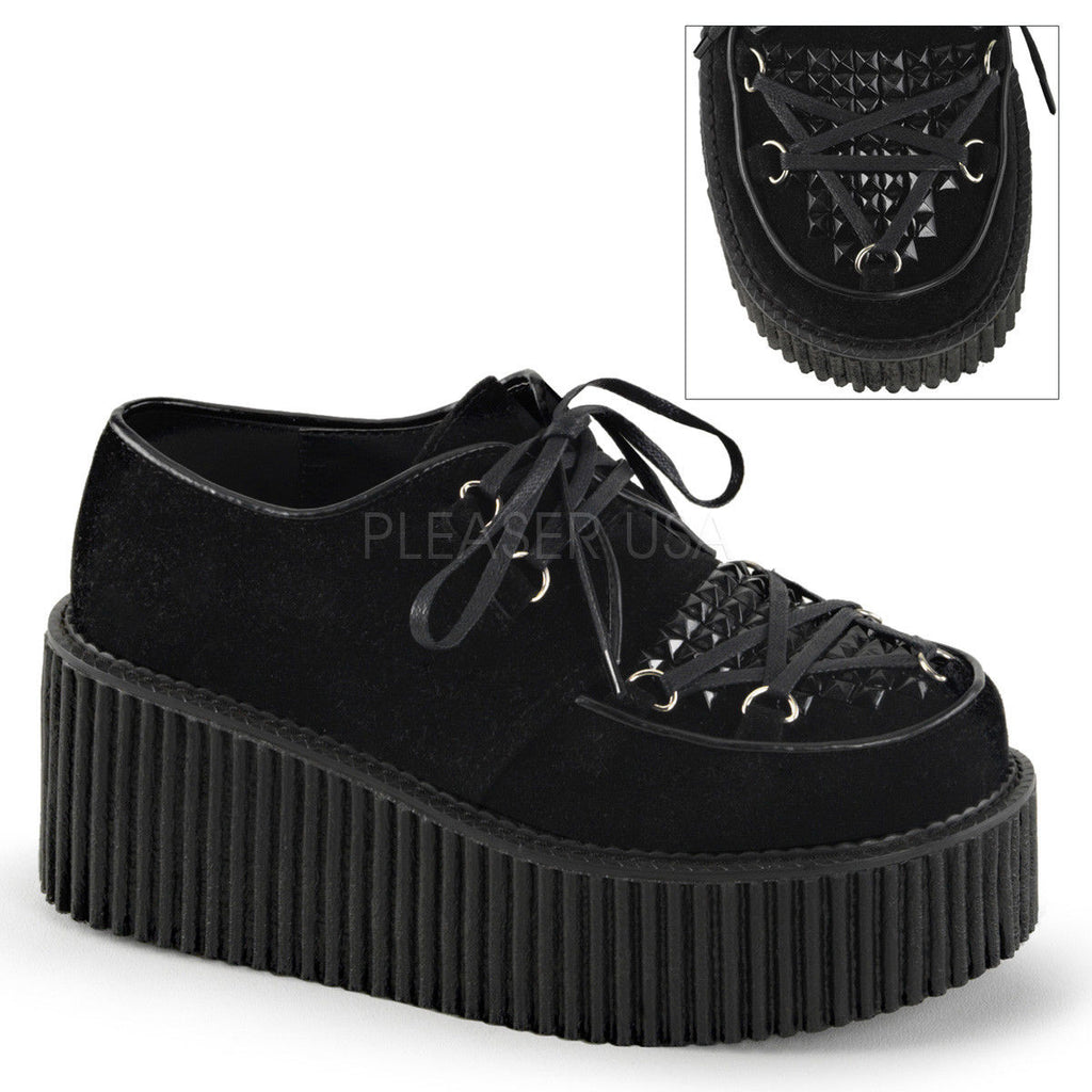Discontinued DEMONIA Creeper-216 Goth Punk Witch Pentagram Lacing Platform Shoes - A Shoe Addiction