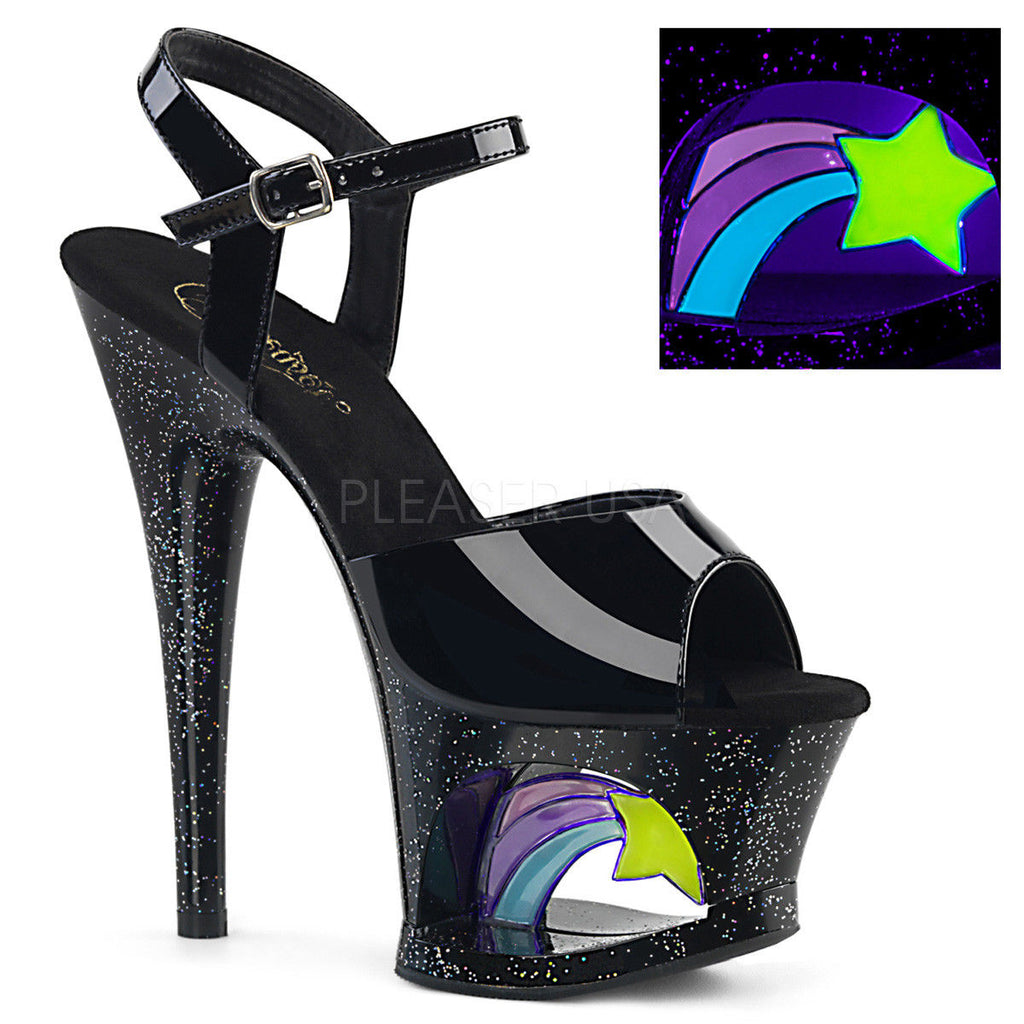 "PLEASER Moon-709RSS Stripper Pole Blacklight Reactive Shooting Star 7"" Heels - A Shoe Addiction"
