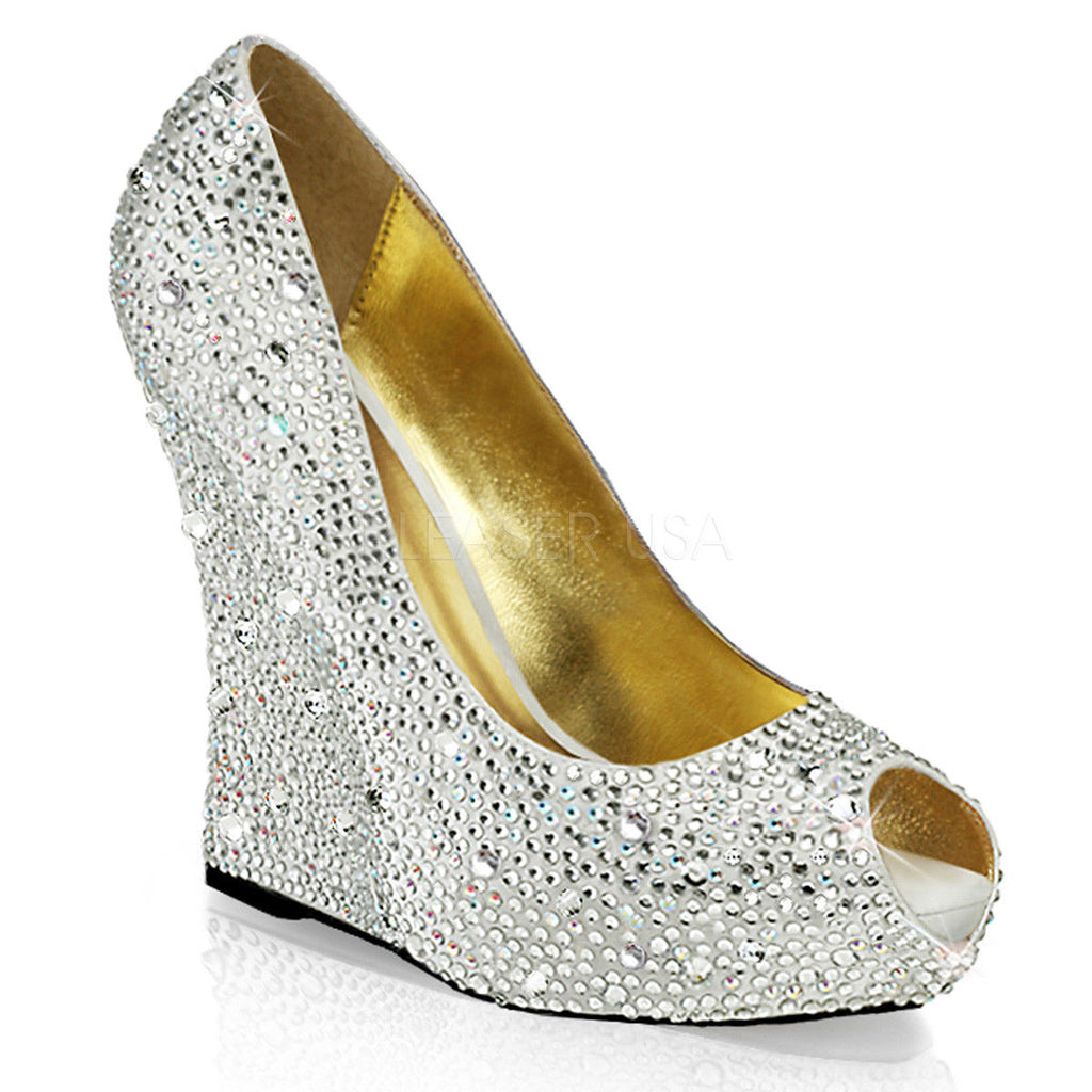 IN STOCK / SALE - Fabulicious Isabelle-18 Silver Rhinestones Wedding Wedges AU 6 - A Shoe Addiction
