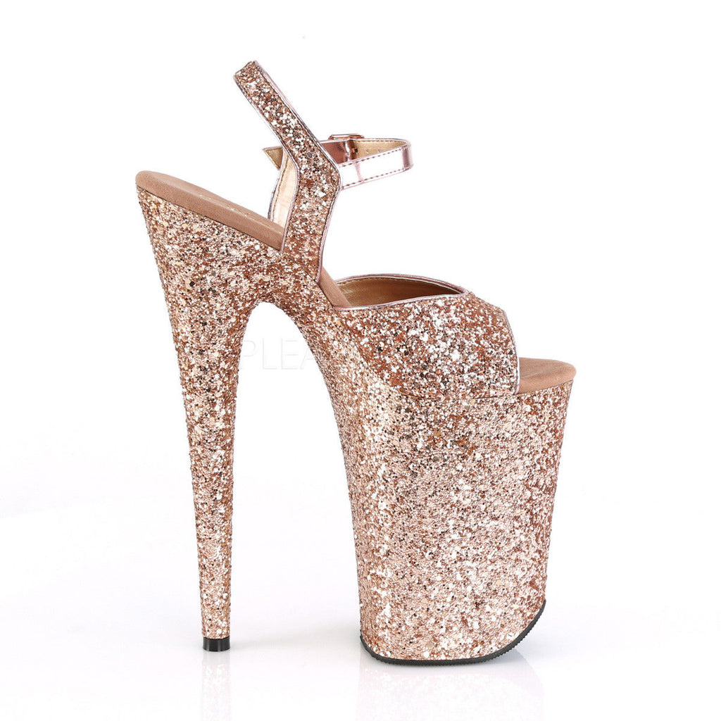 "PLEASER Infinity-910LG Glitter Stripper Pole Dancer Showgirl Club Strap 9"" Heel - A Shoe Addiction"