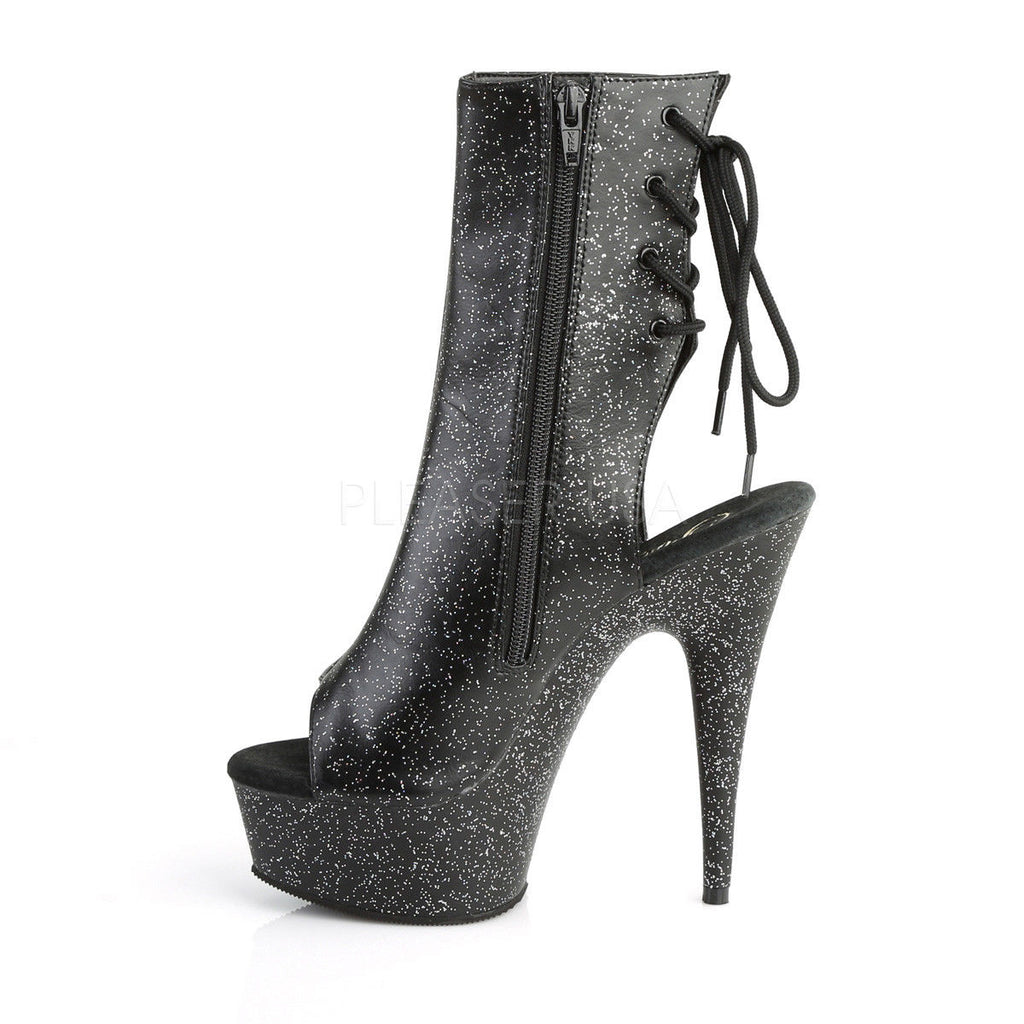"PLEASER Delight-1018MMG Black Faux Leather Mini Glitter Open Toe Back 6"" Boots - A Shoe Addiction"