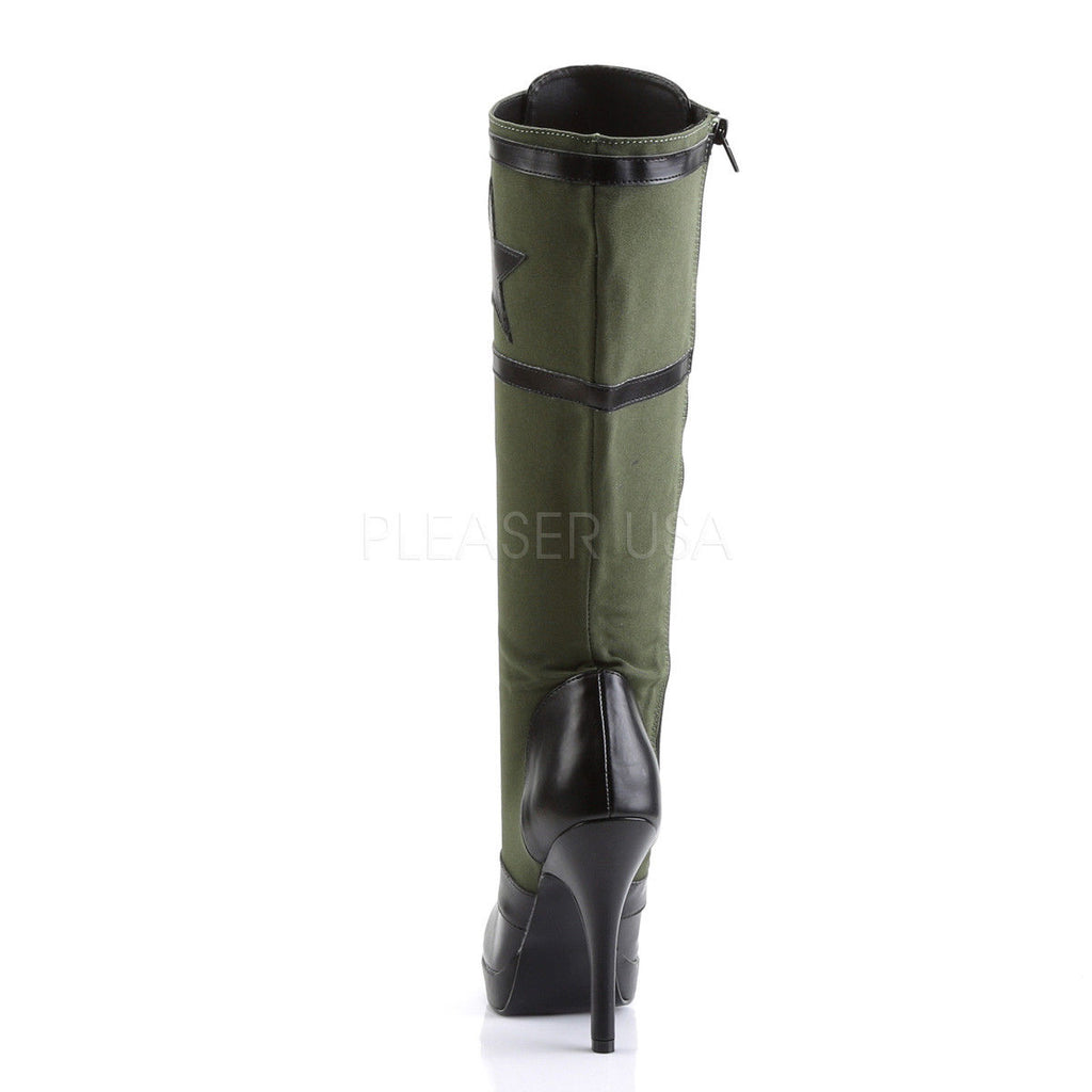 FUNTASMA Arena-2022 Army Green Khaki Star Military Cosplay Costume Knee Boots - A Shoe Addiction