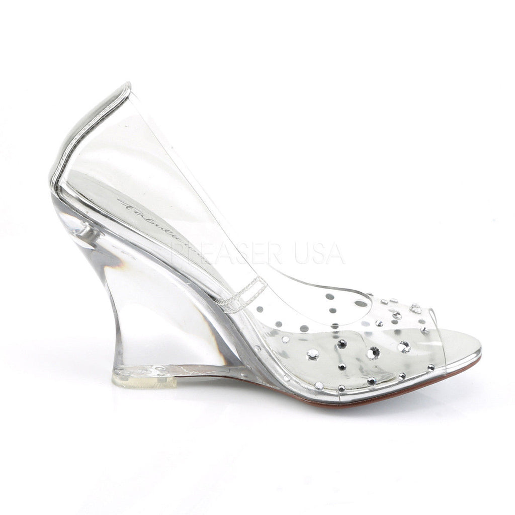 "FABULICIOUS Lovely-420RS Clear Rhinestones Party Wedding 4"" Wedges Sandals Heels - A Shoe Addiction"