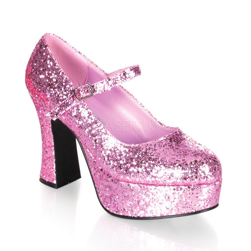 FUNTASMA Maryjane-50G Black Red Pink Glitter Dorothy Fairy Dress Cosplay Heels - A Shoe Addiction