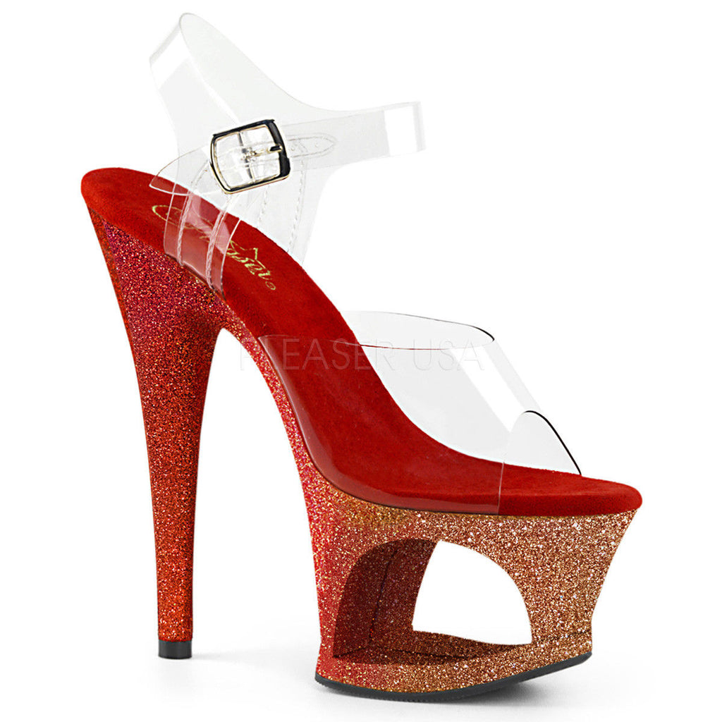 "PLEASER Moon-708OMBRE Ombre Glitter Stripper Dancer Club Platforms 7"" Inch Heels - A Shoe Addiction"