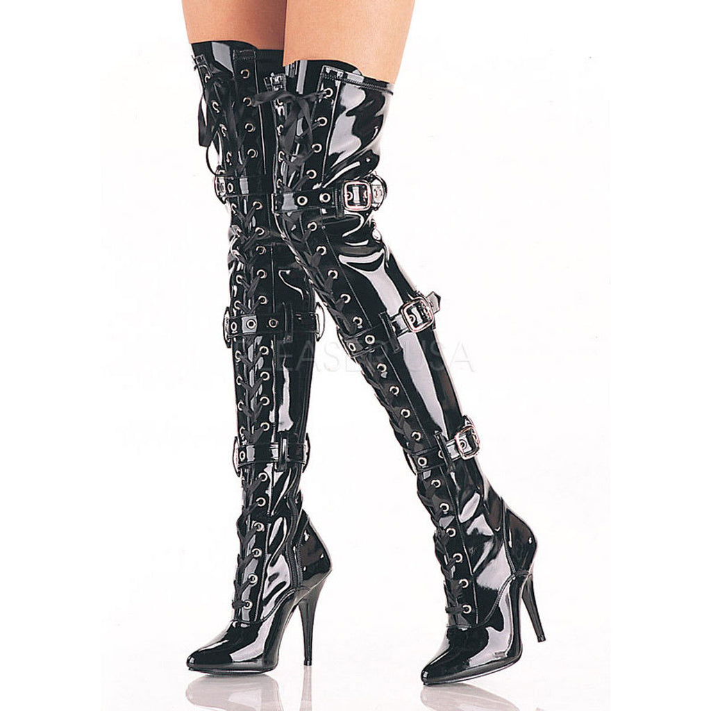 PLEASER Seduce-3028 Black Red Buckle Thigh Boots Drag Cross Dresser Women's 5-13 - A Shoe Addiction