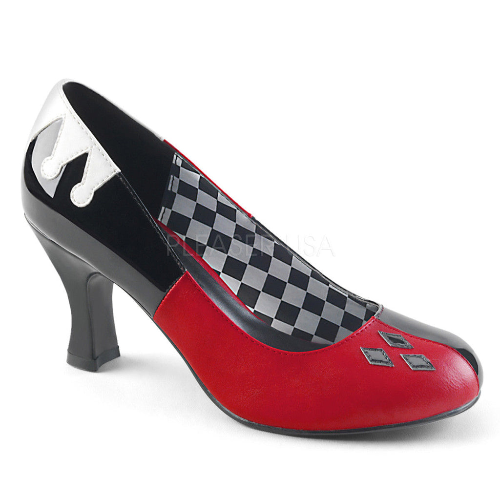 FUNTASMA Harley-42 Red Black Harley Quinn Jester Costume Halloween Dress Up Heels