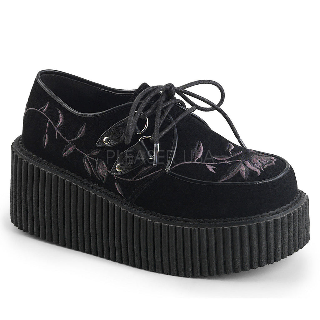 DEMONIA Creeper-219 Flower Goth Alternative Platform Flats Creepers 3' Heels - A Shoe Addiction
