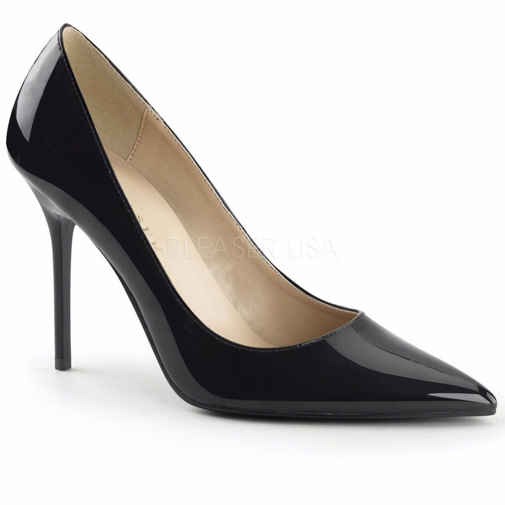 PLEASER Classique-20 Black Nude White Patent Pumps Heels Large Plus Sizes 5-16 - A Shoe Addiction