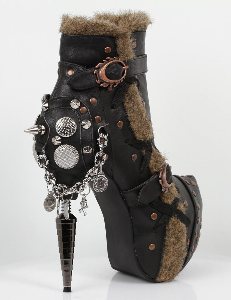 HADES GRIFFIN Black Brown Faux Fur Spike Skull Coin Charm Gothic Steampunk Boots