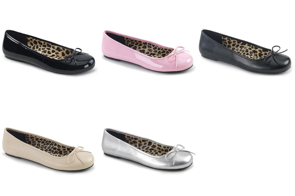 PLEASER PINK LABEL Anna-01 Black Pink Cream Silver Ballet Flats Drag Womens 8-15 - A Shoe Addiction