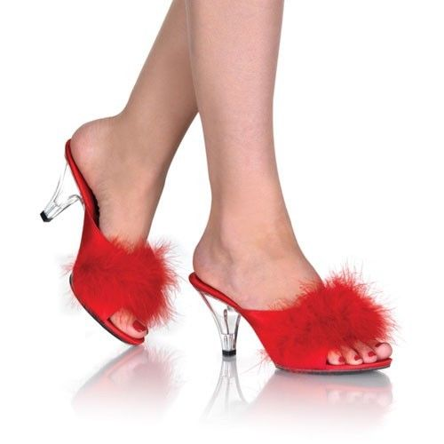 "FABULICIOUS Belle-301F Satin Fluffy Fur Feathers Bedroom Slippers Mules 3"" Heels - A Shoe Addiction"
