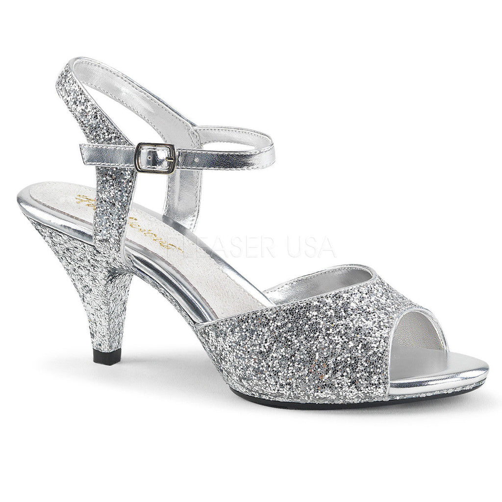 "PLEASER Belle-309G Gold Silver Black Glitter Dress Wedding Strap 3"" Heels 4-15 - A Shoe Addiction"