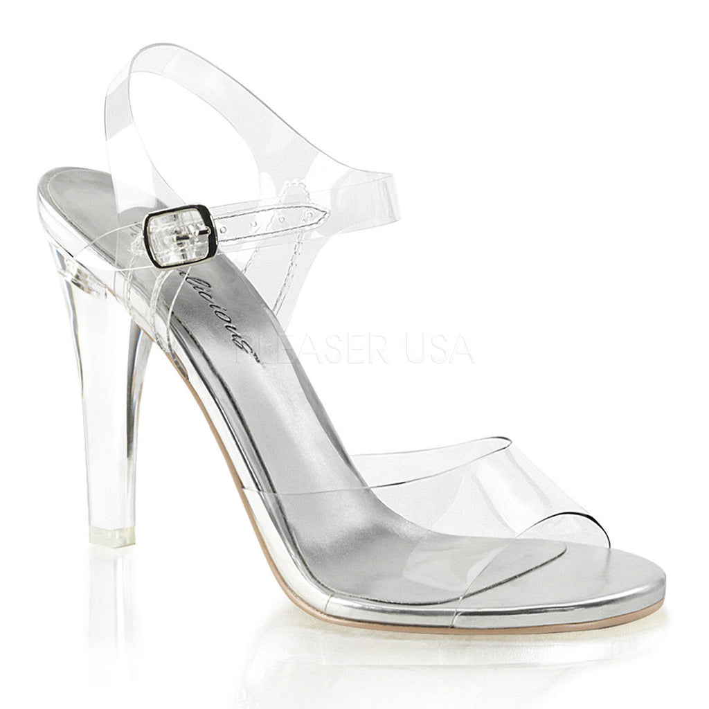 "FABULICIOUS Clearly-408 Clear Gold Fitness Bikini Model Comp Strap 4.5"" Heels - A Shoe Addiction"