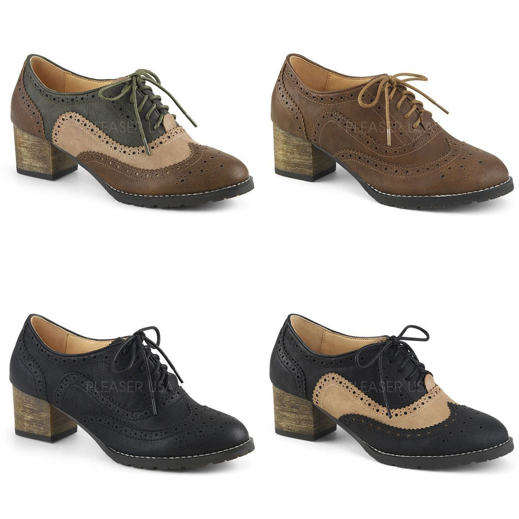 "PINUP COUTURE Russell-34 Wingtip Oxfords Brogue Detail 2"" Heels Shoes"