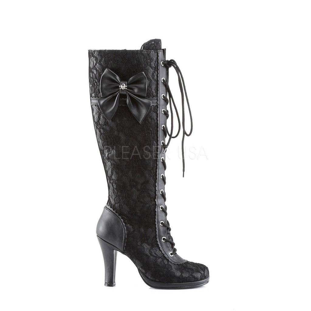 "DEMONIA Glam-240 Black Goth Lolita Bow Lace Overlay 3.75"" High Heels Knee Boots - A Shoe Addiction"