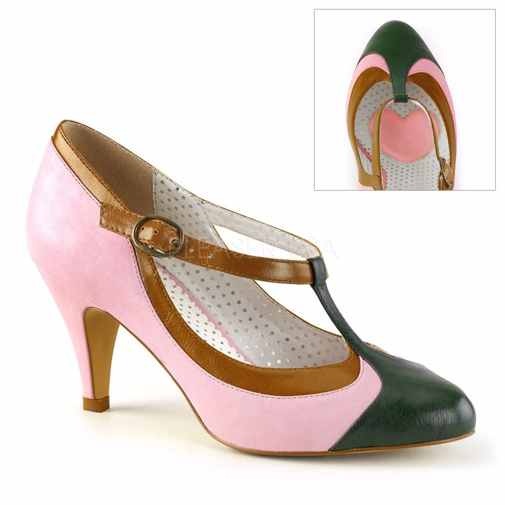 "Discontinued PINUP COUTURE Peach-03 Pink Mint Yellow Retro T-Strap 3"" Heels"