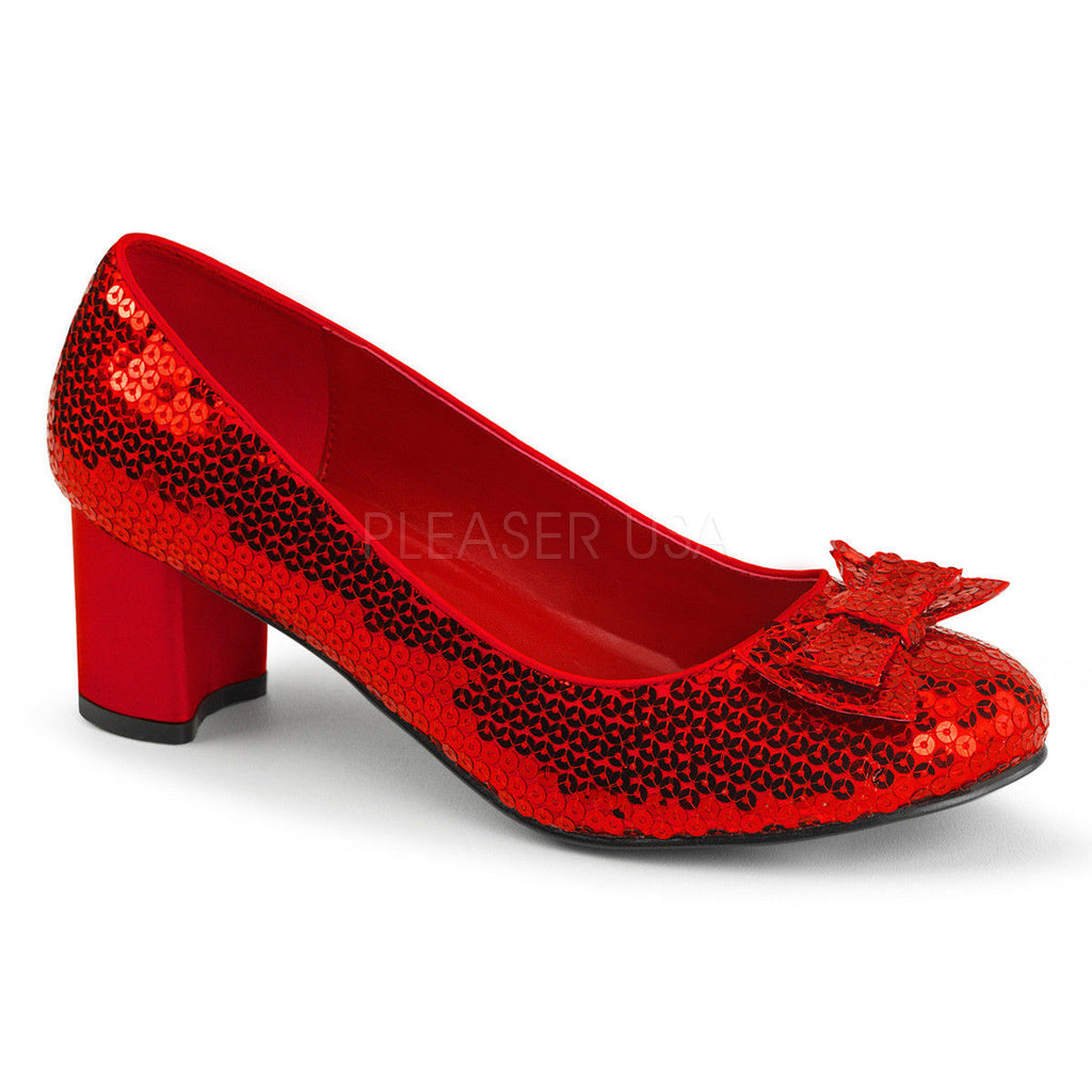 FUNTASMA Dorothy-01 Red Sequins Wizard of Oz Ruby Slipper Halloween Costume Heel - A Shoe Addiction
