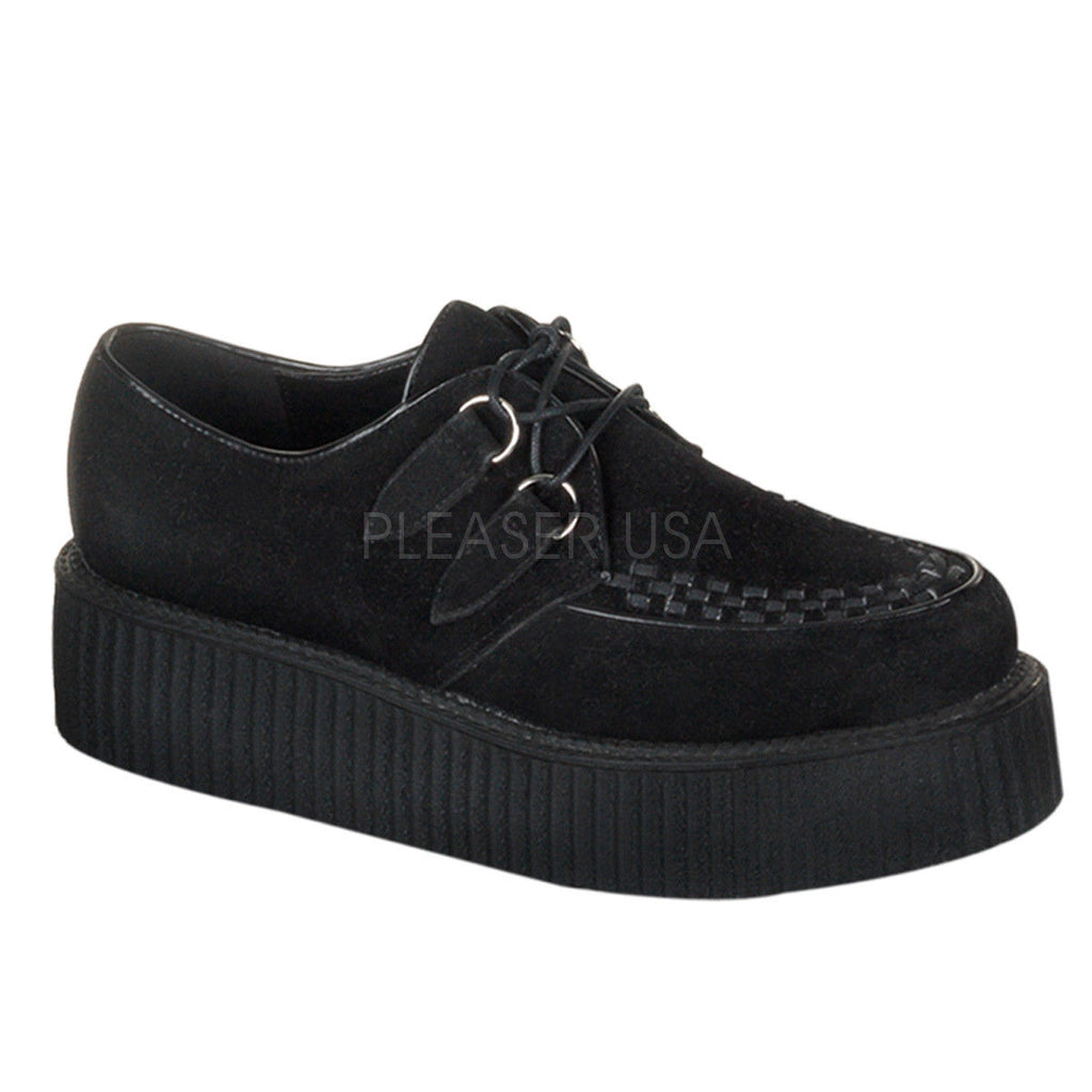 IN STOCK / SALE - DEMONIA Creeper-402S Goth Black Suede Shoes Men's 9 Women's 11 - A Shoe Addiction