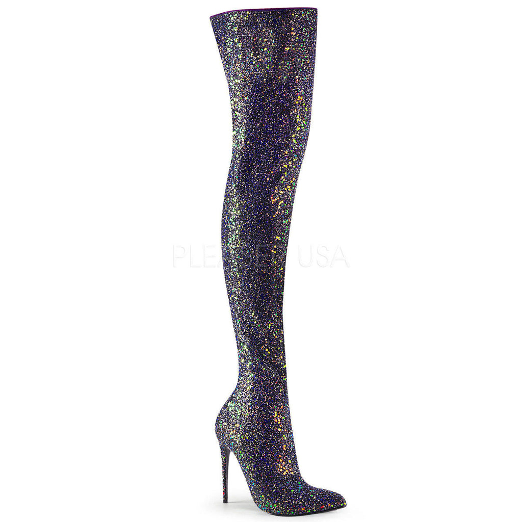"PLEASER Courtly-3015 Sexy Black White Multi Glitter 5"" Heel Thigh High Boots - A Shoe Addiction"