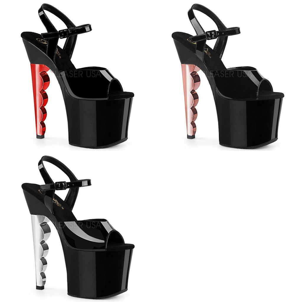 "Discontinued PLEASER Scallop-709CH Chrome Stripper Pole Dancer Platforms 7"" Scalloped Heels"