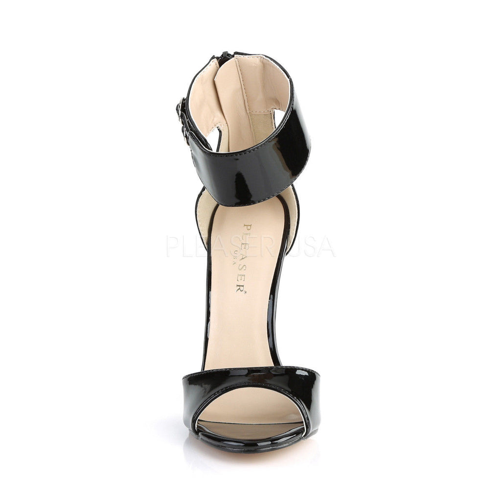 "PLEASER Sexy-19 Black Red Dual Buckle Ankle Strap Work Formal Club Pump 5"" Heels - A Shoe Addiction"