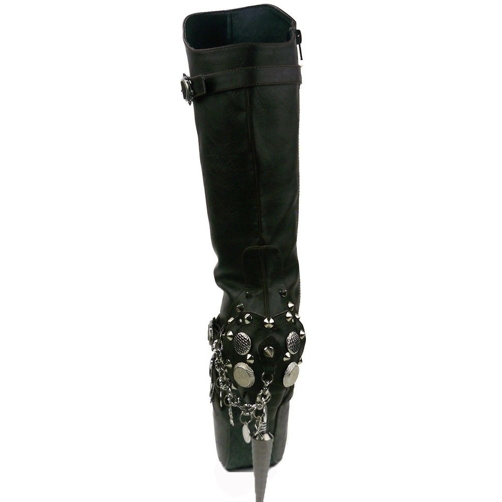 HADES VALDA Metal Spike Skull Coin Charms Steampunk Rocker Goth Knee Boots