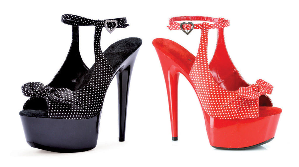 IN STOCK / SALE - Ellie Shoes 609-Dottie Black & White Polka Dot Heels AU Sz 4 - A Shoe Addiction