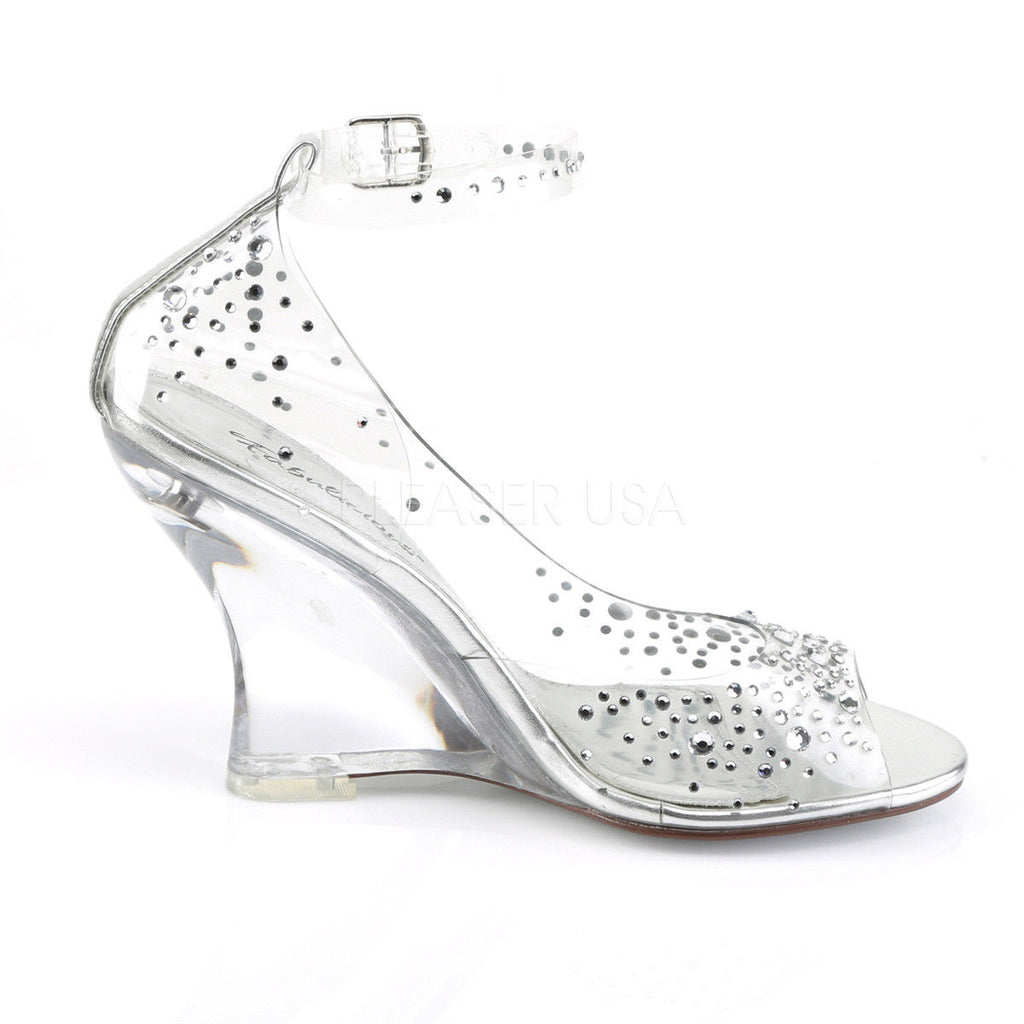 "FABULICIOUS Lovely-430RS Clear Rhinestones Party Wedding 4"" Wedges Sandals Heels"