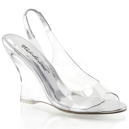 "FABULICIOUS Lovely-450 Clear See Through Slingback Dress 4"" Wedges Sandals Heels - A Shoe Addiction"