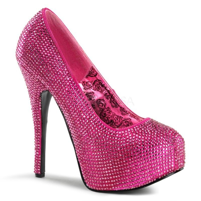 Discontinued BORDELLO Teeze-06R Rhinestones Burlesque Wedding Party Heels Pumps - A Shoe Addiction