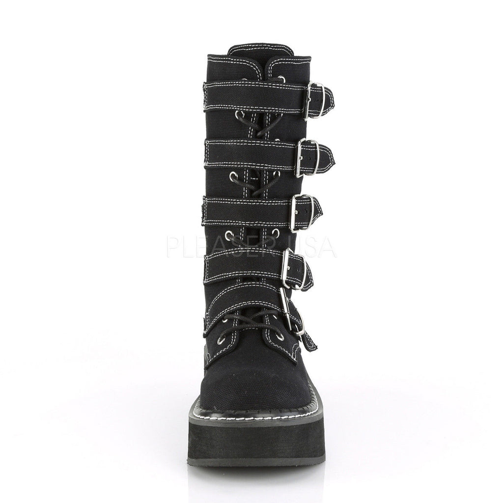 "DEMONIA Emily-341 Women's Black Canvas Goth 5 Buckle 2"" Platforms Mid Calf Boots - A Shoe Addiction"