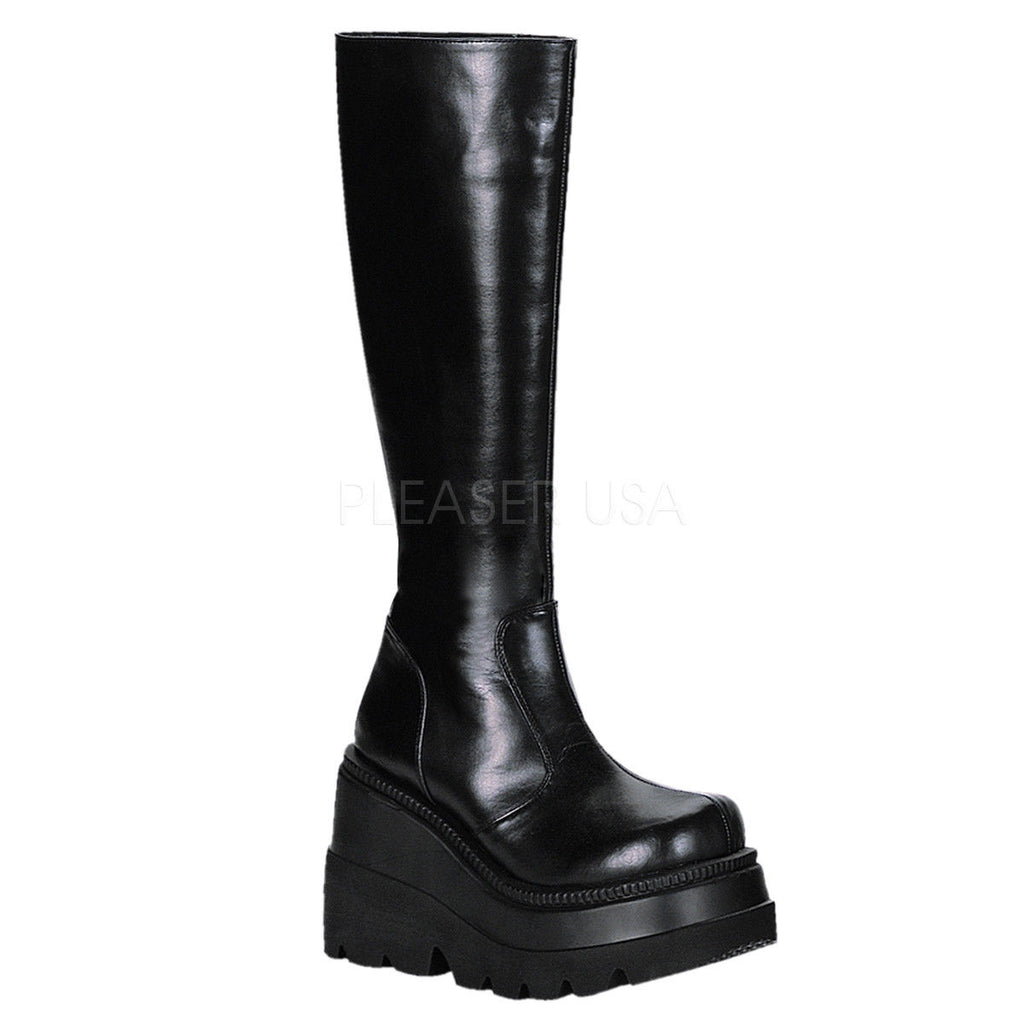 DEMONIA Shaker-100 Black Vegan Leather Goth Metal Platforms Wedges Knee Boots - A Shoe Addiction