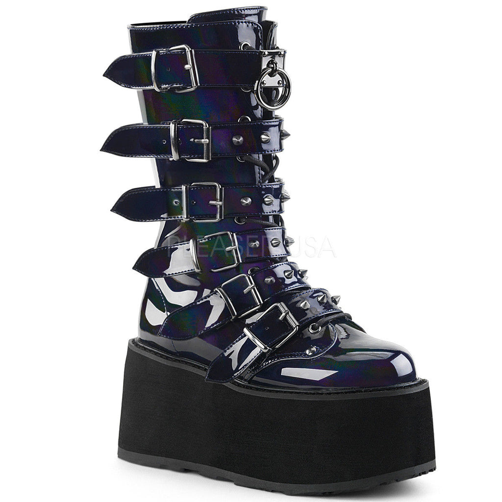 DEMONIA Damned-225 Hologram Velvet Vegan Leather Goth Spike Buckles Calf Boots - A Shoe Addiction