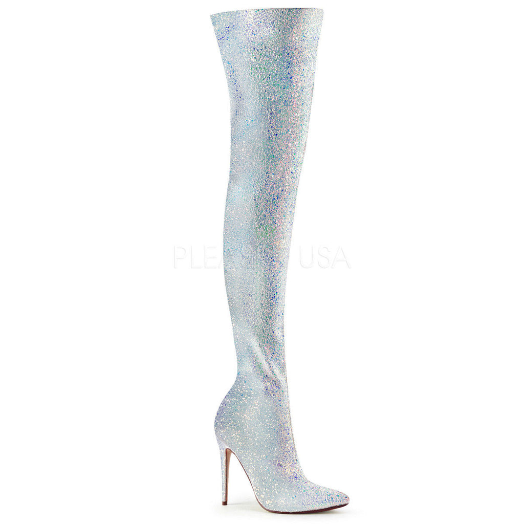 "PLEASER Courtly-3015 Sexy Black White Multi Glitter 5"" Heel Thigh High Boots"