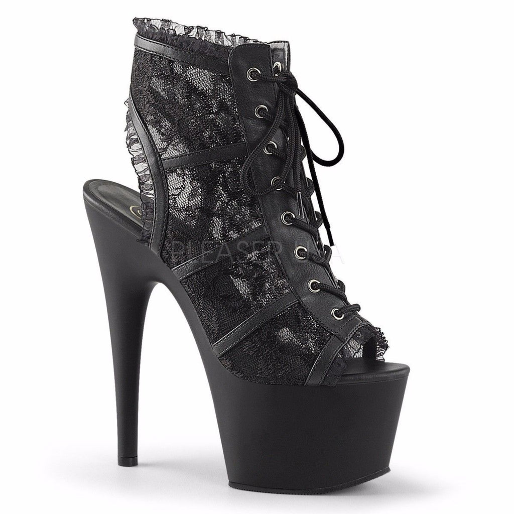 PLEASER Adore-796LC Black Lace Goth See Through Open Heel Peep Toe Booties Boots - A Shoe Addiction