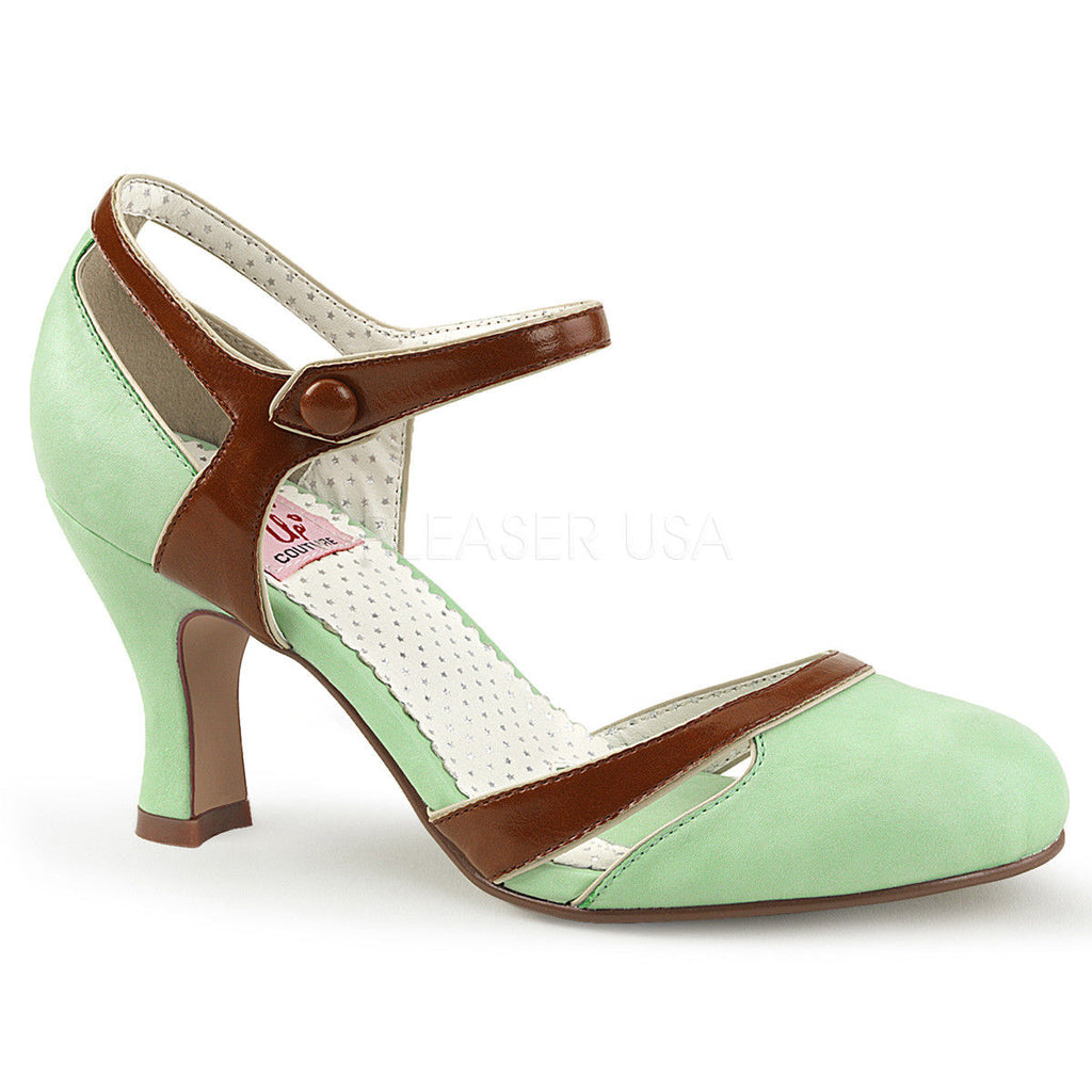 IN STOCK / SALE - Pinup Couture Flapper-27 Mint Green Brown Mary Janes AU 10 - A Shoe Addiction