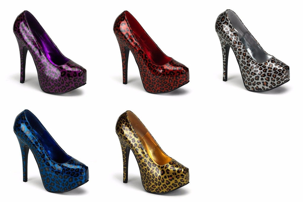 Discontinued BORDELLO Teeze-37 Blue Purple Red Silver Gold Cheetah Glitter Heels - A Shoe Addiction